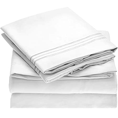 Mellanni Bed Sheet Set - Brushed Microfiber 1800 Bedding - Wrinkle, Fade, Stain Resistant - Hypoallergenic - 4 Piece (Queen, White) image