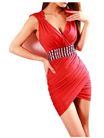 Stretch Rouge Bling V Neck Mini Clubwear Robe De Cocktail De Soiree Strass