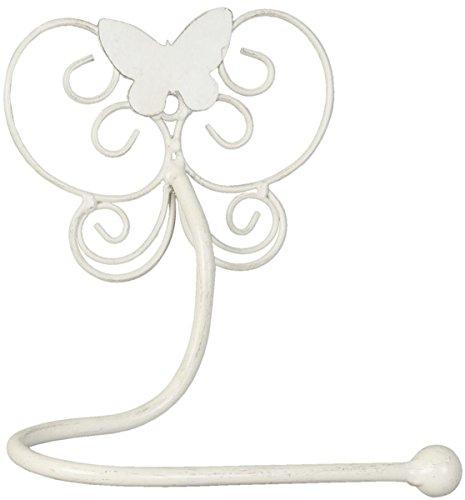 Clayre & Eef 6Y1457W Gästetuchhalter Handtuchhalter Toilettenpapierhalter Klorollenhalter Wandanbringung Schmetterling weiß ca. 19 x 10 x 24 cm