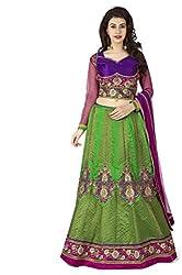 Navyata Women's Silk Semi-Stitched Lehenga Choli (1715 C_Green_Free Size)