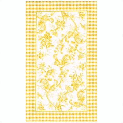 Rooster Toile Yellow Rug Size: 7.6' x 9.6'