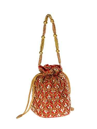 Sling Red Color Draw String Raw Silk Potli  available at amazon for Rs.645