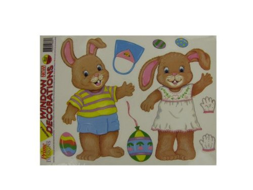 Bulk Buys Km172 Dress-Up Easter Bunny Window Clings Case Of 175