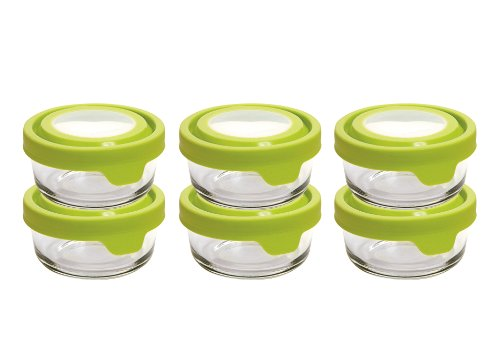 Anchor Hocking 1-Cup Round Glass Food Storage Containers with TrueSeal Airtight Lids , Set of 6