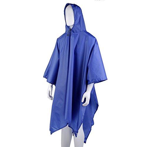 OUTAD Poncho Impermeabile 210T Poliestere 3-in-1 Poncho Impermeabile+Stuoia Campeggio+Parasole Mantella Impermeabile Outdorr/Campeggio Adulto (blu)