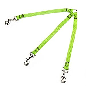 Guardian Gear 4-Inch Nylon 3-Way Small Dog Coupler with Nickel Plated Swivel Clip, Electric Lime