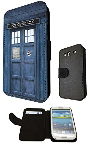 Samsung Galaxy S3 i9300 Doctor Who Tardis Police Call Box design Fashion Trendy Cover Pelle portafoglio Wallet Flip Book