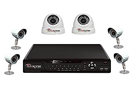 Tentronix T-8CH-6-D2B48 8Channel DVR + 2 Dome + 4 Bullet CCTV Cameras