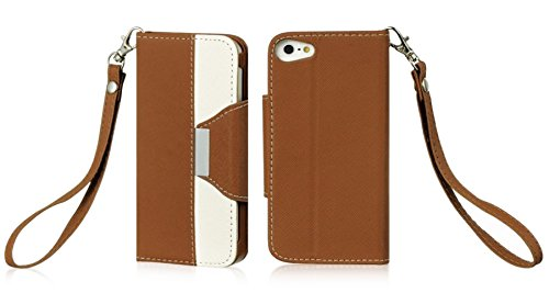 Mylife (Tm) Light Brown And White - Fancy Design - Textured Koskin Faux Leather (Card And Id Holder + Magnetic Detachable Closing) Slim Wallet For Iphone 5/5S (5G) 5Th Generation Itouch Smartphone By Apple (External Rugged Synthetic Leather With Magnetic