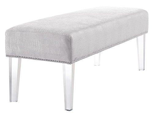 TOV Furniture Stella Croc Velvet Acrylic Bench, Silver