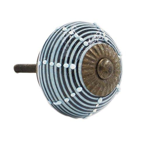 Blue And Black Striped Ceramic Drawer Knob Pull (Striped Dresser Knobs compare prices)