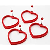 ★Set of 4★ ANFIMU Silicone Egg Pancake Ring Heart, Red