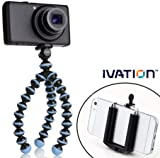 JOBY Gorillapod Flexible Tripod (Sky Blue) and a Bonus IVATION Universal Smartphone Tripod Mount Adapter works for iPhone 5, 5s, 6, 6 Plus, HTC One, Galaxy s2, S3, S4, S5, Blackberry Z10,Q10, Motorola Droid and Most Smartphones