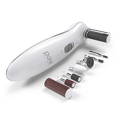 PurePedi Deluxe - 8-in-1 Personal Manicure and Pedicure Kit - Lightweight Set Attachments Includes Callus Remover, Nail Buffer & Polisher, and More