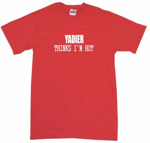 Yadier Thinks I'm Hot Women's Tee Shirt XL-Red-Regular at Amazon.com