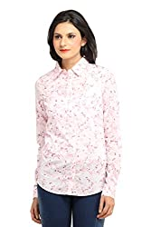 Ladybug Women Printed Cotton Shirt in Pink Print