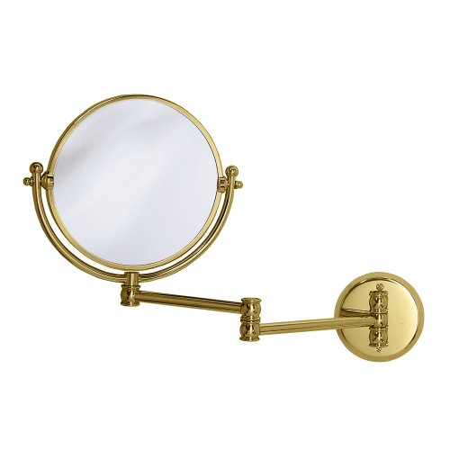 Gatco 1410 Wall Mount Mirror With 14-Inch Swing Arm Extents, Brass front-755471