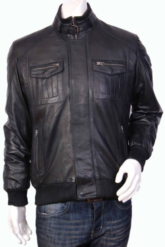 Mens Bomber Leather Jacket-Gents Fitted Leather Jacket-Black-Tom (M)