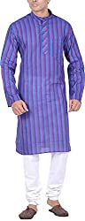 Kisah Men's Handloom Cotton Kurta (KA-S-048K-42_Blue_42)