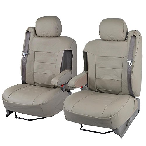 Tan Beige PU Leather Seat Covers Luxury Leatherette - Armrest & Integrated Seatbelt (Leather Seats For Silverado compare prices)