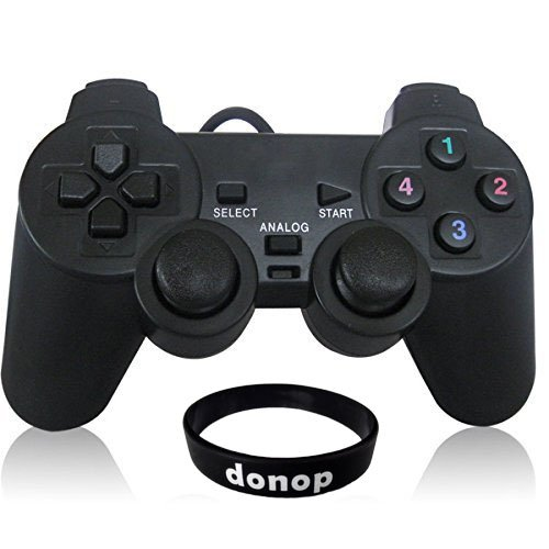 Donop® USB Pc Computer Vibration Shock Wired Gamepad Game Controller Joystick Game Pad Includes Donop Black Wrist Band (Computer Game Pad compare prices)