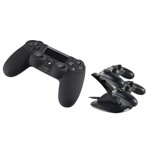 Everydaysource® Compatible With Sony PlayStation 4 (PS4) Controller 2 x Black Silicone Skin Case + 1 x Dual USB Stand Charger Charging Station