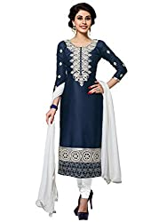 Kanchnar Women's Navy Blue and White Glace Cotton Party Wear Dress Material for Traditional Wedding Wear,Navratri Special Dress,Great Indian Sale,Diwali Gift to Wife,Mom,Sister,Friend