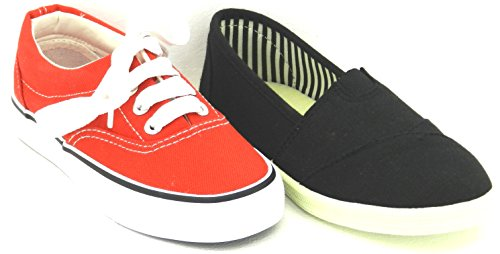 Youth Boys or Girls Plimsole Trainer Twisted Casual Flat Classic Slip on Canvas Low-top Sneakers Shoes