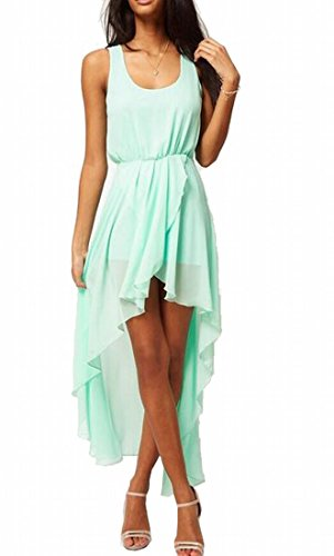 Generic Women Unbalanced Hem LightWeight Beach Dresses Green L