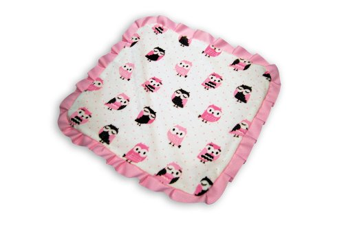 Caught Ya Lookin' Baby Thumb Blanket, Pink and White Owls