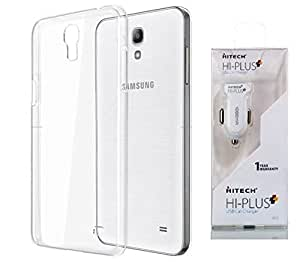 D'clair Premium Transparent Case Cover With HITECH Hi-plus One port 1.1Amp CarCharger with Data Cable for Samsung Galaxy Note 3 Neo