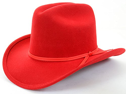 Kids Red Banded Knot Detail Cowboy Dress Hat Unisex