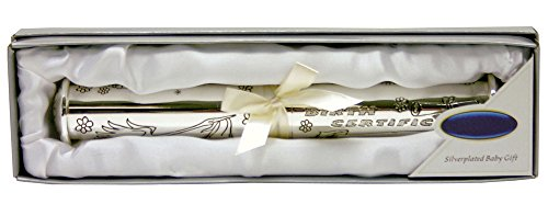 A Stunning Silver Birth Certificate Holder for Boy or Girl By Haysom Interiors