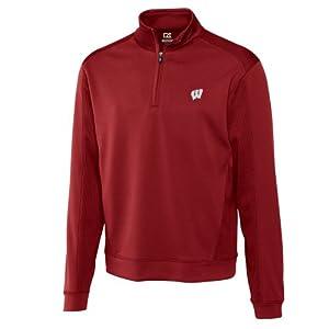 NCAA Mens Wisconsin Badgers Cardinal Red Drytec Edge Half Zip Jacket by Cutter & Buck