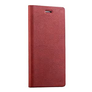 WireSwipe™Ultra Slim Wallet Leather Case with Card Slot Holster Flip Case Covers for IPhone 5, 5S & 5E - (Red)