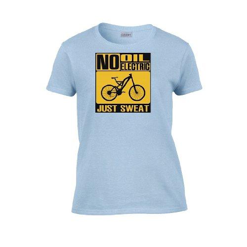 Iamtee Womens No Oil No Electric Just Sweat T-Shirt-Light Blue-L