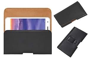 Acm Belt Holster Case For Lyf Wind 5 Mobile Leather Cover Magnetic Closure Clip Black