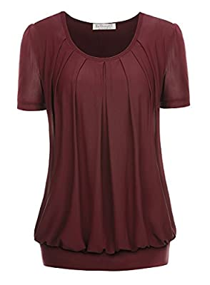 BAISHENGGT Women's Short Sleeve Pleated Front Mesh Blouse