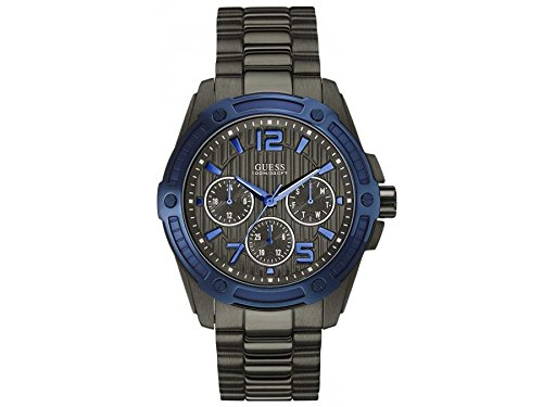 Guess Watches W0601G1 Gent's Flagship Gunmetal Grey Multi Function Watch With Blue Accents