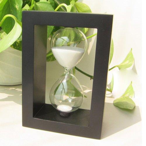 Zokey Lovely 30 Minutes Black Wooden Glass Hourglass Timer (White)