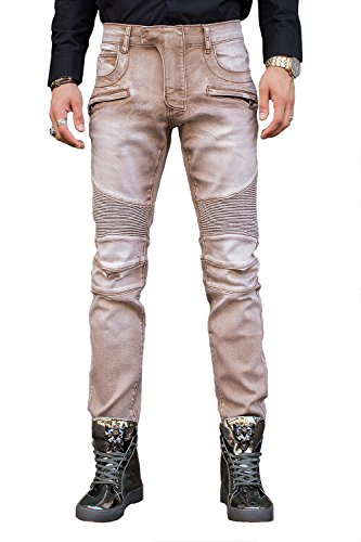 COUSIN CANAL Pista di Mens Distressed Denim Slim Biker Jeans strappati 049 30