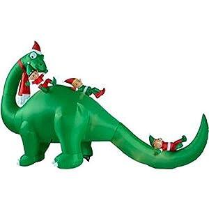Amazon.com: 12' Brontosaurus with Elves Christmas Holiday ...