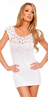 Handmade Off Shoulder Crochet Mini Dress - Small/Medium