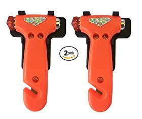 IPOW Car safety Antiskid Hammer Seatbelt Cutter Emergency Class/Window Punch Breaker Auto Rescue Disaster Escape Life-Saving Hammer Tool,2 Pack