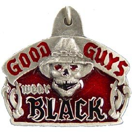 Pewter Metal Emblem Key Chain - Bikes & Bones - Good Guys Wear Black Skull
