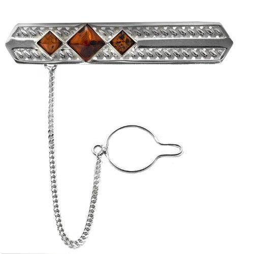 Men's Sterling Silver Cherry Amber Filigree Classic Tie Pin