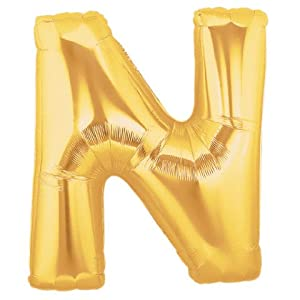 Amazoncom 40 inch megaloon gold letter n balloons for Foil letter balloons amazon