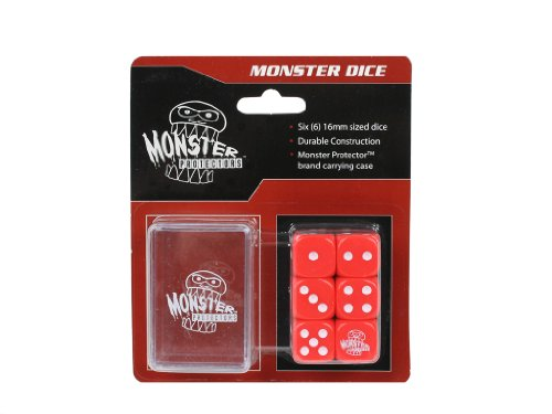 Dice - Monster Protectors Set of 6 D6 Logo Die with Pocket Carrying Case (Red) - 1