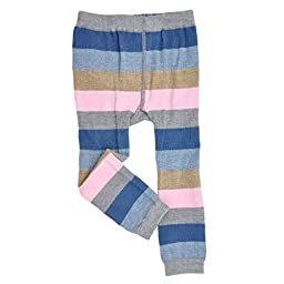 Me In Mind - Infant Footless Tights - Stripes - Gray/Blue/Navy - Girls Cute Organic Leggings
