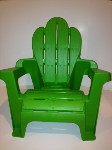 Kid's Plastic Adirondack Chair, Green, Scallop Top, Light Weight